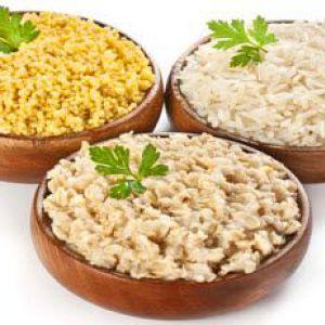 Калорійність відвареного рису, вареної гречки, вівсянки на 100 гр.